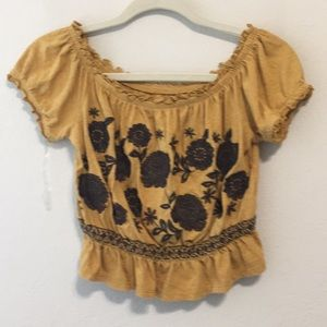 American Eagle Boho Embroidered Peasant Crop Top